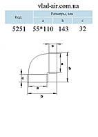 Колено горизонтальное 90° для плоских каналов 5251