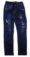 Теплые джинсы на резинке для девочки Бабочки (р.98,110,116,122)