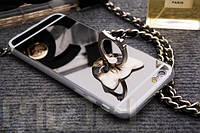 Зеркальный чехол с кольцом и котиком для iPhone 5/5s, 6/6plus