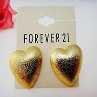 Серьги золотые сердца F21