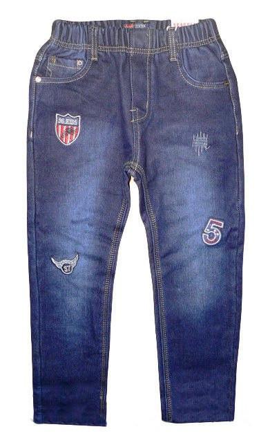 Теплые джинсы на резинке для мальчика Нашивки (р.104,122)
