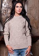 Теплый вязаный пуловер бежевого цвета