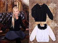 Блузка текстиль, шифон, горловина декор.