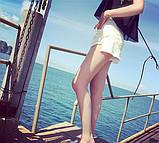 Женские белые рваные шорты, фото 4