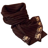 Вязаный зимний шарф - петля в стиле норвежского орнамента
