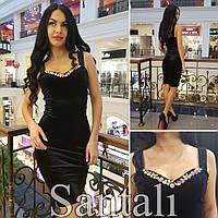 Коктейльное платье с камнями из бархата цвет черный