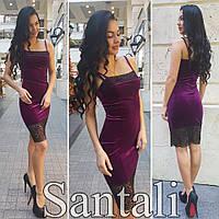Красивое женское платье на брительках с кружевом ткань бархат цвет филетовый