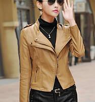 Кожаная куртка с двойным воротником