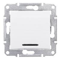 SHNEIDER ELECTRIC SEDNA Выключатель 2-х полюс. одноклавишный с красной индикацией 10А Белый