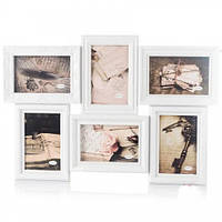 Красивая фоторамка на 6 фотографий (53х36 см) цвет белый