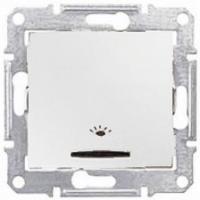 SHNEIDER ELECTRIC SEDNA Выключатель кнопочный с подсветкой и держателем для надписи Белый