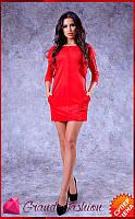 """Платье """"Milan"""" // красный, фото 1"""
