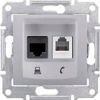SHNEIDER ELECTRIC SEDNA Розетка компьютерная  + телефон неэкр. UTP кат. 6 Алюминий