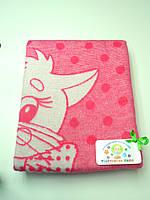 Хлопковое одеяло в роддом (ярко-розовое с котиком)