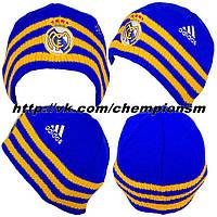 Зимнияя шапка с флисовой подкладкой Реал синяя