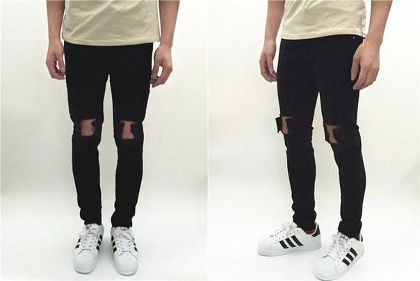 Мужские джинсы с рваными коленями