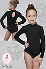 Классический купальник для танцев и гимнастики черный, фото 3