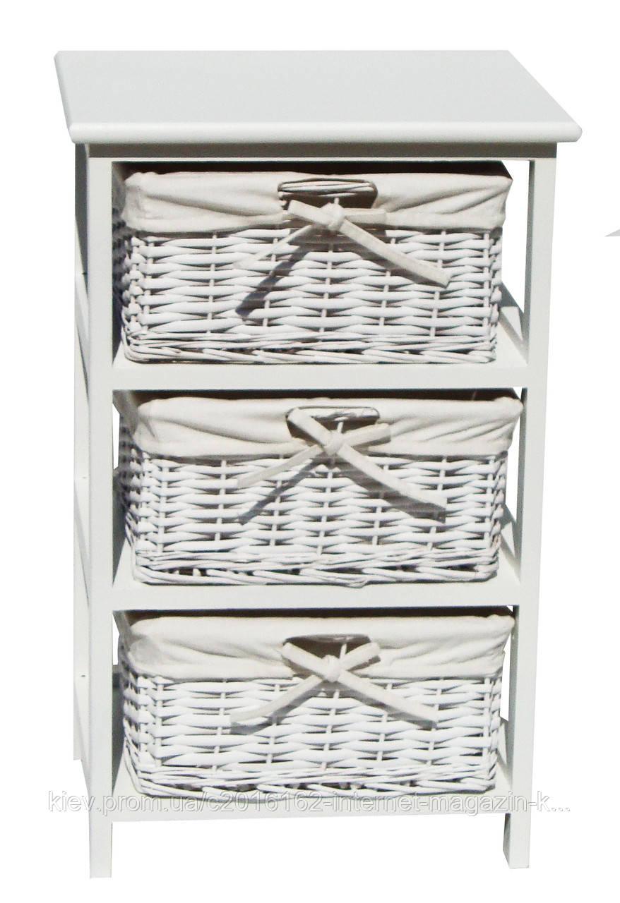 Комод белый плетеный прованс Special4You Grace white 3D на 3 ящика