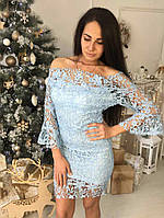 Красивое женское гипюровое платье цвет голубой, фото 1