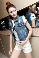 Женская короткая джинсовая желетка