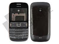 Корпус Nokia 302 Asha, черно-серебристый
