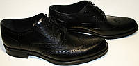 Туфли мужские кожаные Luciano Bellini 368-4 черные оксфорды броги.