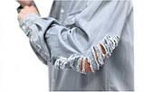 Джинсовая длинная рваная рубашка STREET vintage, фото 3