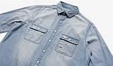 Джинсовая длинная рваная рубашка STREET vintage, фото 5