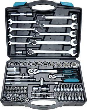 """Набір головок 1/2"""" 1/4"""" (4-32мм) ключів (8-22мм) Cr-V 82 предмета в кейсі Berg"""
