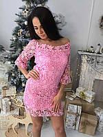 Красивое женское гипюровое платье цвет розовый