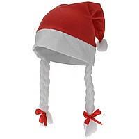 Новогодняя шапка Деда Мороза с косичками (флисовая)