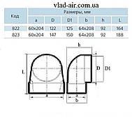 Колено 90° для плоских каналов 204*60*125