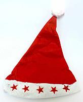 Новогодняя шапка Деда Мороза со звездочками (флисовая)