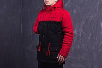 Куртка зимняя, парка, мужская, зима - 30 градусов, очень теплая! черный-красный