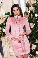 Женское платье на шнуровке с поясом ткань плотный замш розовое, фото 1
