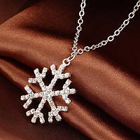 Ювелирный комплект Снежинка серьги+кулон с цепочкой