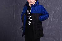 Куртка зимняя, парка, мужская, зима - 30 градусов, очень теплая! черный-синий