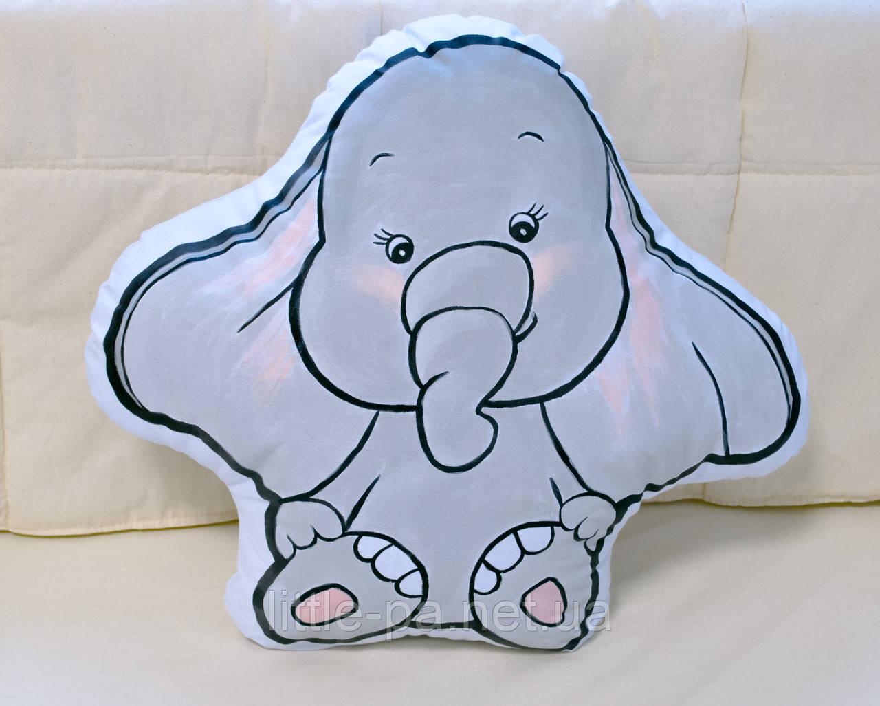 Детская хлопковая подушка в кроватку «Слоник»