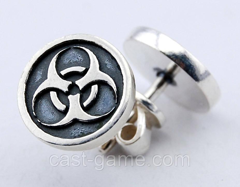 d079ebee9143 Biohazard серьги-пусеты серебро 925 пробы - CAST ювелирная мастерская в  Харькове