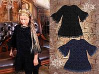 Платье, рисунок флок, французские кружева, ЧЁРНЫЙ р.122,128,134,140,146,152