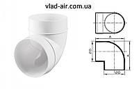 Колено 90°для круглых каналов 100d. , фото 1