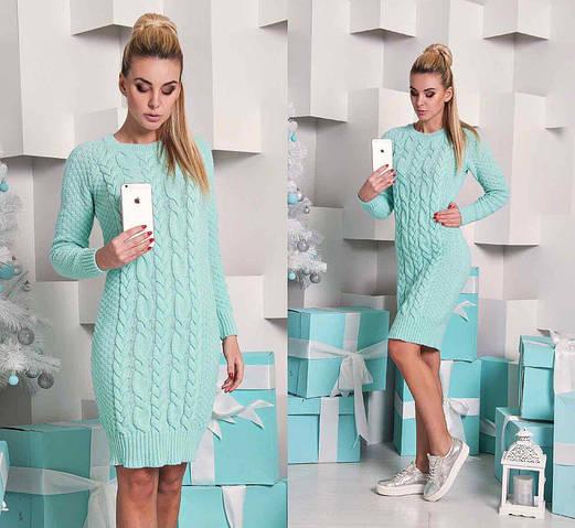 Женское платье, 50% шерсть, 50% акрил, р-р универсальный 42-46 (мятный)