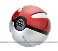 Портативное зарядное устройство Power Bank 10000 mAh в виде Pokeball, в форме Покебол из Мультфильма Pokemon