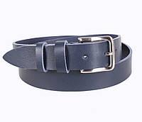 Повседневный кожаный ремень под джинсы синий от Итальянского бренда