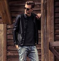 Мужская стильная прямая кожаная куртка