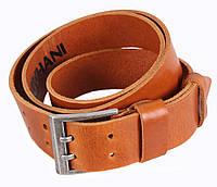 Джинсовый мужской кожаный ремень рыжий 4 см с двойной пряжкой от Итальянского бренда