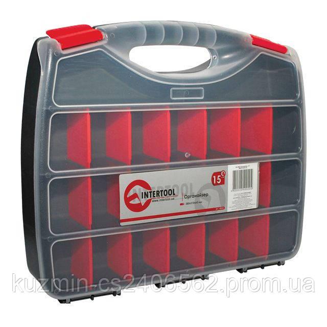 """Пластиковый органайзер для хранения метизов 15"""" 380*310*60мм INTERTOOL BX-4002"""