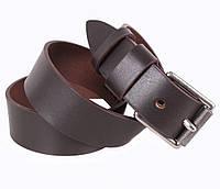Повседневный мужской кожаный ремень под джинсы коричневый 4 см от Итальянского бренда