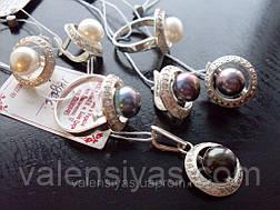 Набор серебряных украшений с жемчугом - кольцо  и серьги, фото 2