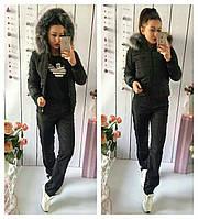 Тёплый женский костюм чёрный 42 44 46 48 50 52